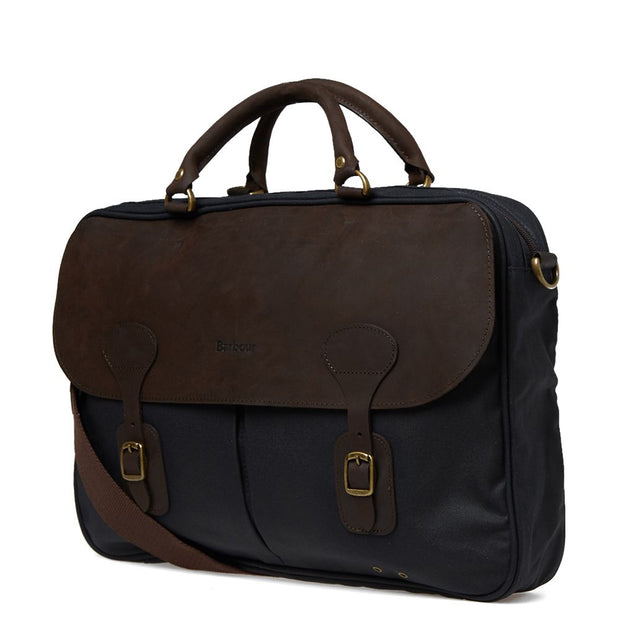 Barbour Wax Leather Briefcase Olive - The Painted Trout