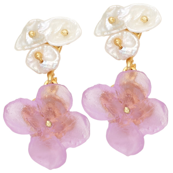 Michael Michaud French Bouquet Earrings - Light Flower Post