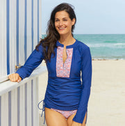 CABANA LIFE Moroccan Mosaic Ruched Top Navy - The Painted Trout