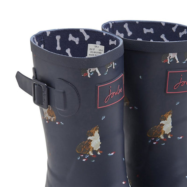 Joules Molly Mid Height Rain Boots French Navy Dogs in Leaves