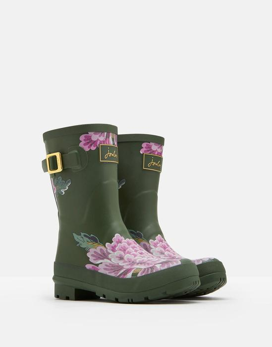 Joules Molly Mid Height Rain Boots Green Floral