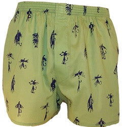 Cotton Boxers: Blue Tied Flies on Green