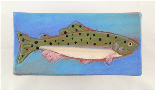 Ceramic Tile: Rainbow Trout, Light Blue - The Painted Trout