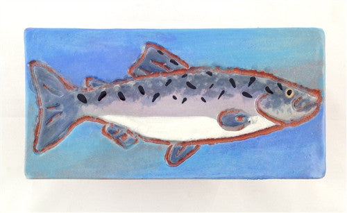 Ceramic Tile: Salmon, Light Blue - The Painted Trout
