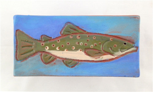 Ceramic Tile: Brown Trout, Light Blue - The Painted Trout