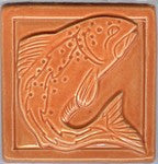 Ceramic Tile, Leaping Fish, Orange - The Painted Trout