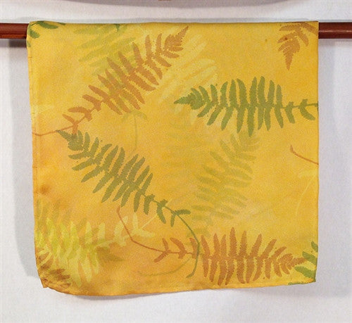 Silk Pocket Square, Ferns in Green, Rust and Gold