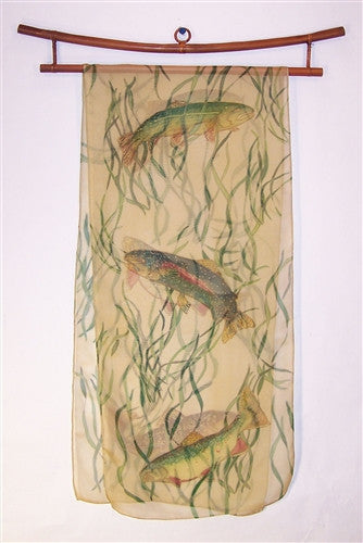 Scarf: Trout and Reeds on Sheer Creme Iridescent Silk