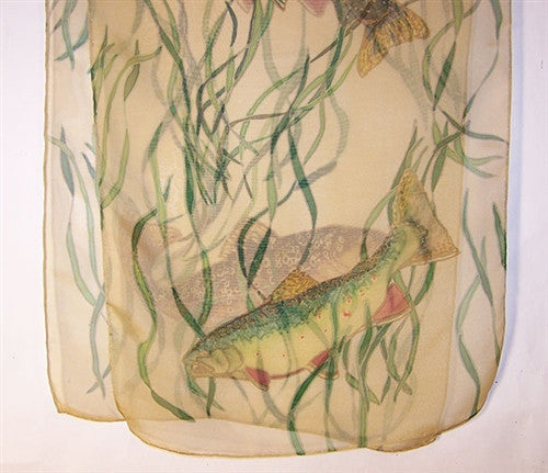Scarf: Trout and Reeds on Sheer Creme Iridescent Silk - The Painted Trout