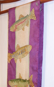 Silk Scarf: Simply Beautiful Trout with Purple Border - The Painted Trout