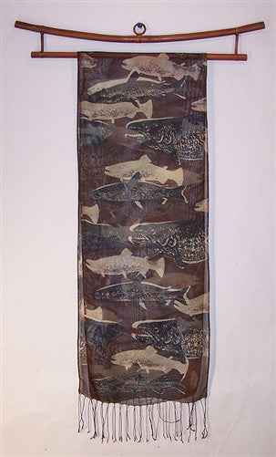 Silk Scarf: Vintage Fish Layers - The Painted Trout