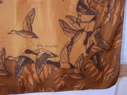Silk Scarf: Ducks on Brown Square - The Painted Trout