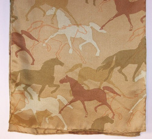 Silk Scarf: Galloping Horses, Limited Edition - The Painted Trout