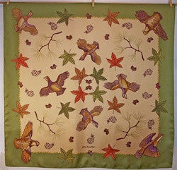 LIMITED EDITION Scarf: Quail & Leaves - The Painted Trout