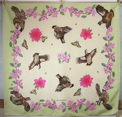 LIMITED EDITION Scarf: Quail, Flowers, Butterflies & Bees - The Painted Trout