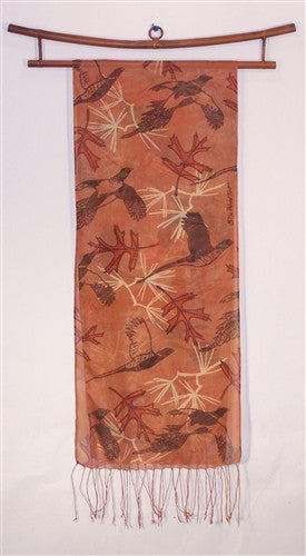 Silk Scarf: Pheasants and Oak Leaves on Rust - The Painted Trout