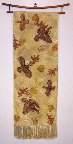 Scarf: Quail and Leaves - The Painted Trout