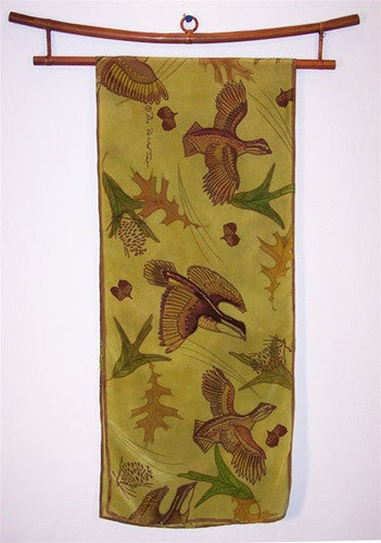 Scarf: Quail on Olive Green Crepe de Chine - The Painted Trout