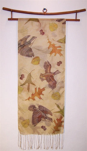 Scarf: Bobwhite Quail on Silk Mesh - The Painted Trout
