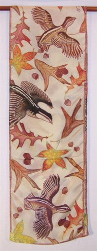 Scarf: Bobwhite Quail on Tan Silk - The Painted Trout