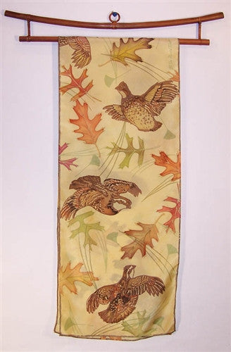 Scarf: Quail with Leaves and Pine Needles