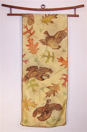 Scarf: Quail with Leaves and Pine Needles - The Painted Trout