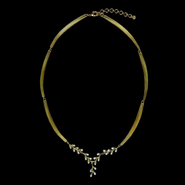 "Michael Michaud Rice Pearl Leaf Necklace - Contour 18"" Adjustable"