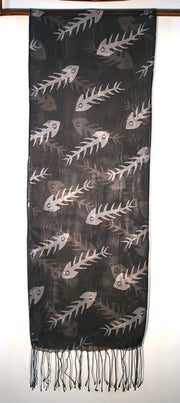 Silk Scarf: Black and Bonefish