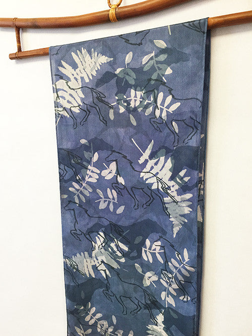 Silk Scarf: Dark Blue Horses with Fringe - The Painted Trout
