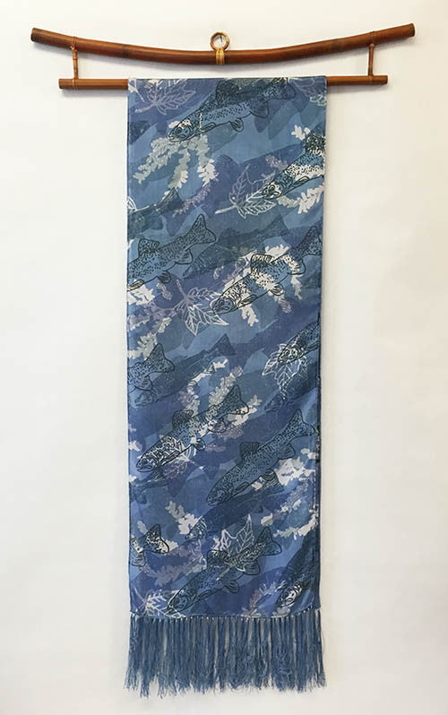 Silk Scarf: Trout on Dark Blue with Fringe - The Painted Trout