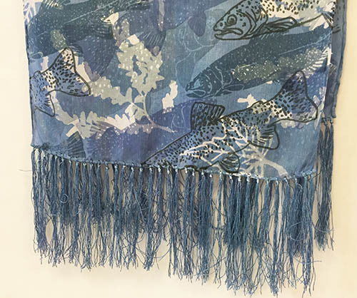 Silk Scarf: Trout on Dark Blue with Fringe