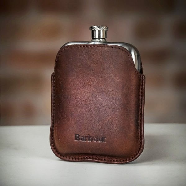 Barbour Waxed Leather Hip Flask - The Painted Trout