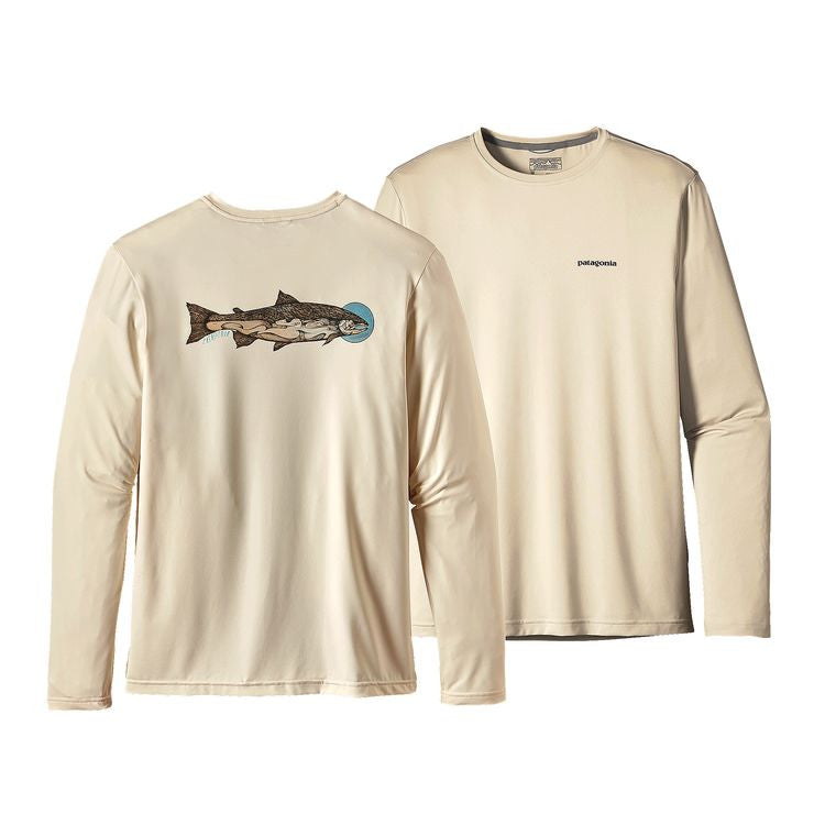 PATAGONIA Graphic Tech Fish Tee Moon Fish: Toasted White - The Painted Trout