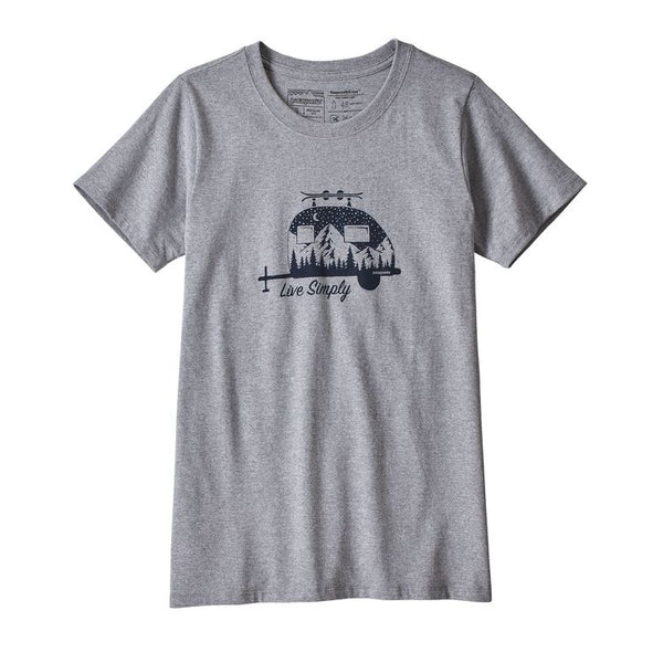 PATAGONIA Women's Cap Daily Graphic T-Shirt Live Simply Trailer: Drifter Grey
