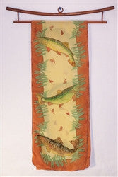 Silk Scarf: Trout with Ferns and Rust Border - The Painted Trout