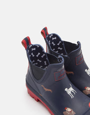 JOULES Wellibobs Short Printed Rain Boots Navy Dogs