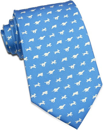 Silk Necktie: Running of the Dogs, Blue - The Painted Trout