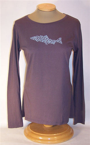 Ladies' Long Sleeve Bamboo Tshirt: Salmon Waves - The Painted Trout