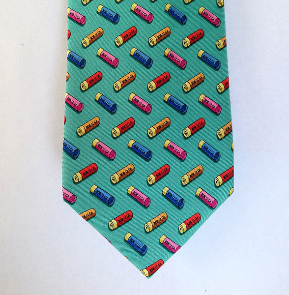 Silk Necktie: Shotgun Shells, Teal - The Painted Trout