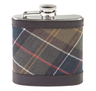 Barbour Tartan Hip Flask Classic Dark Brown - The Painted Trout