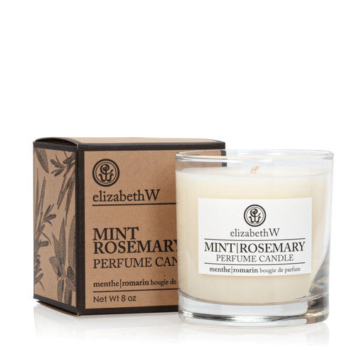 ELISABETH W GLASS CANDLE MINT-ROSEMARY