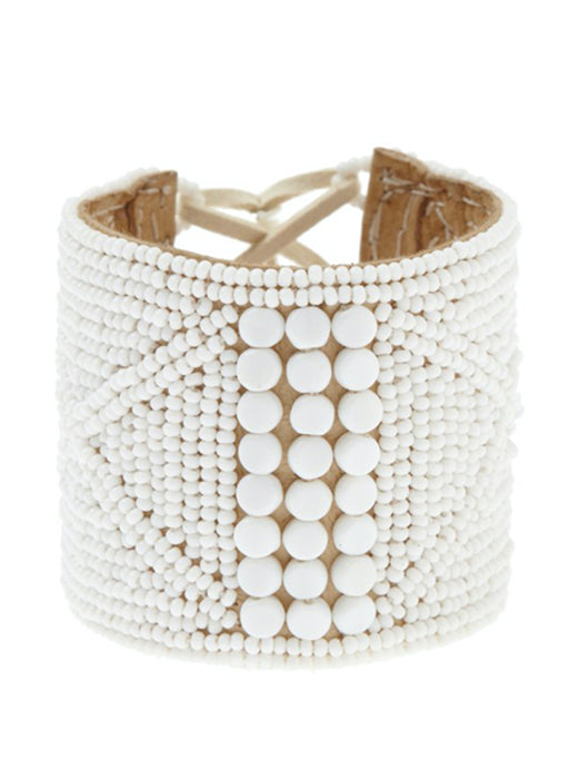 Sidai Leather Sipolio Bracelet Cuff - WHITE/WHITE