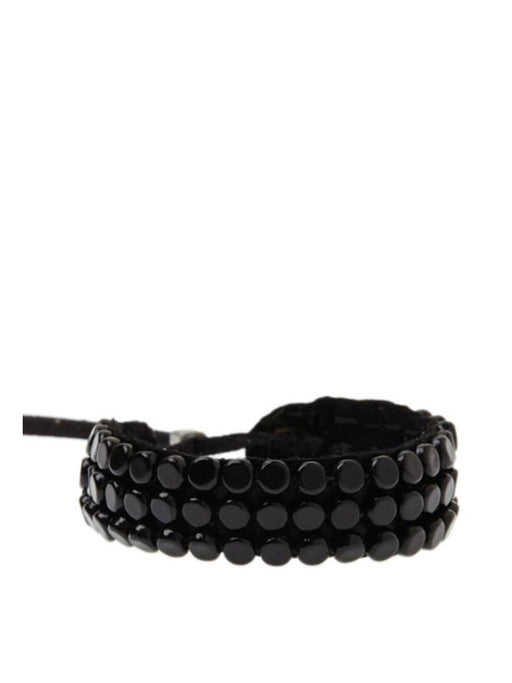 Sidai Narrow Leather Sipolio Bracelet Cuff - BLACK/BLACK