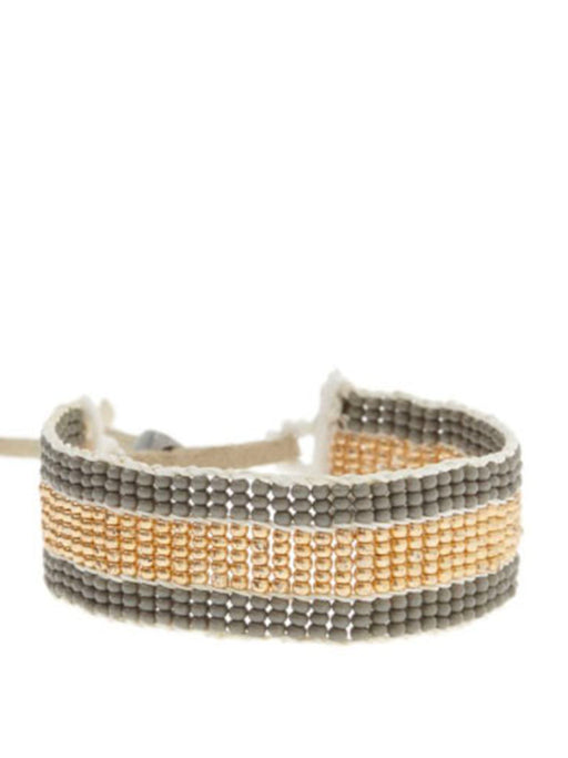 Sidai Narrow Stripe Warrior Bracelet - GREY/GOLD