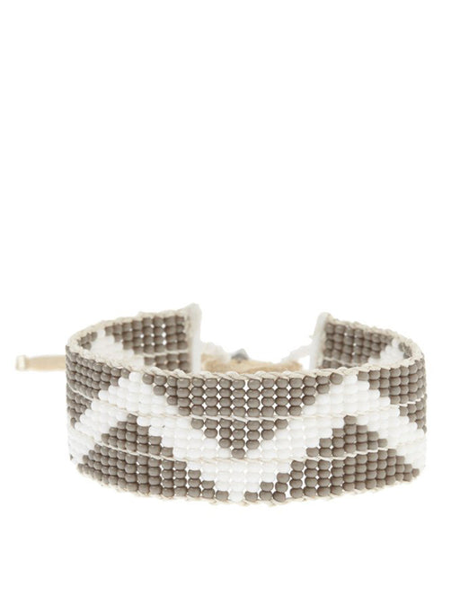 Sidai Narrow Zig Zag Warrior Bracelet - GREY/WHITE