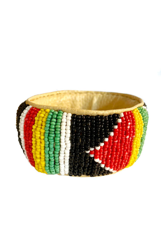 Senegalese Beaded Bracelet - (4) BLACK/GREEN/RED/YELLOW