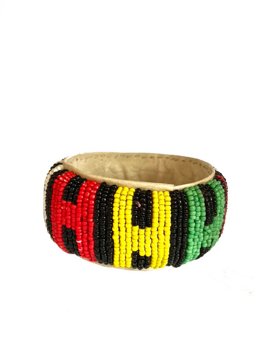 Senegalese Beaded Bracelet - (1) RED/YELLOW/GREEN