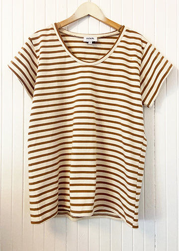 Cedar Brown Cotton Stripe TEE ONW-STRP-103-CDR