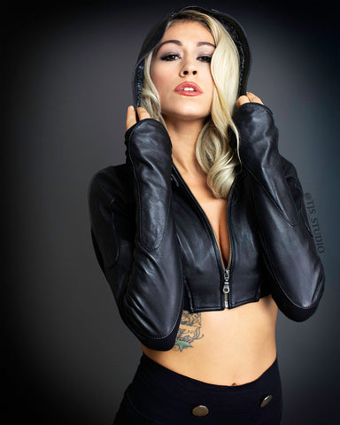 Freq G Hooded Crop Jacket - Leather