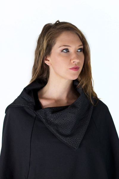 Bat Wing Zip Collar Shawl